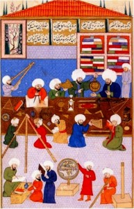 Ottoman astronomers at work around Taqi al-Din at the lstanbul Observatory, 1574-1595, lstanbul University Library