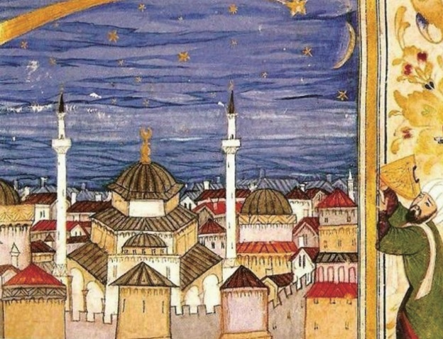 Mustafa Ali, Astronomer observing the comet of 1577 above lstanbul with a wooden quadrant