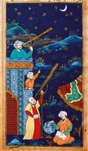 Study of the moon and stars, Ottoman miniature from 17th century, lstanbul University Library